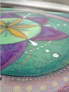Mandala sur toile - détail